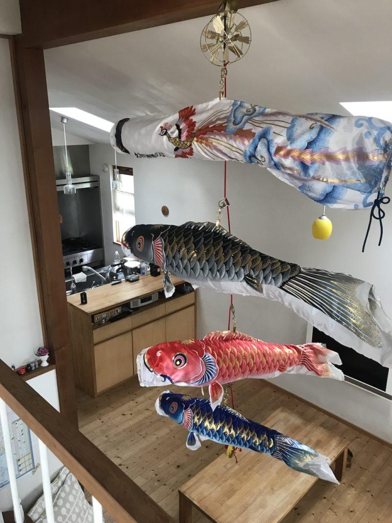 和室からみた鯉のぼり