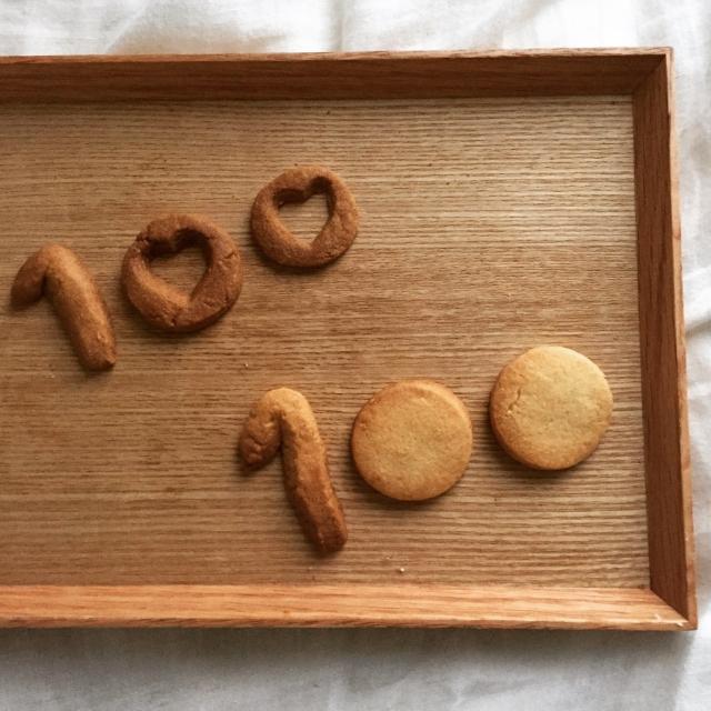 100の形のクッキー
